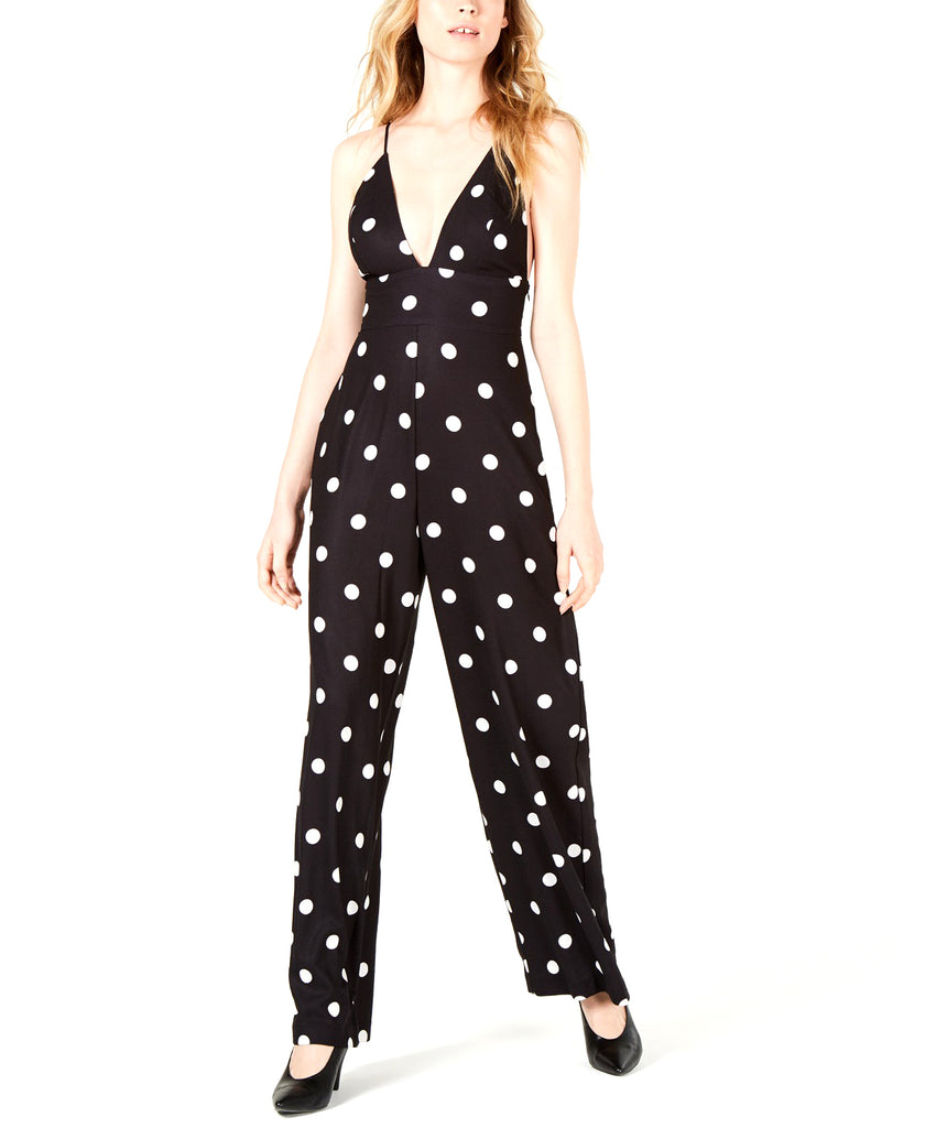 Yieldings Discount Clothing Store's Womens Cami Jumpsuit by Leyden in Black Polka Dot