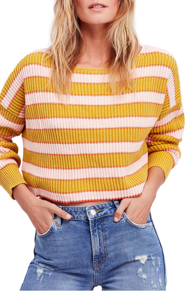 Free People | Just My Stripe Cropped Sweater