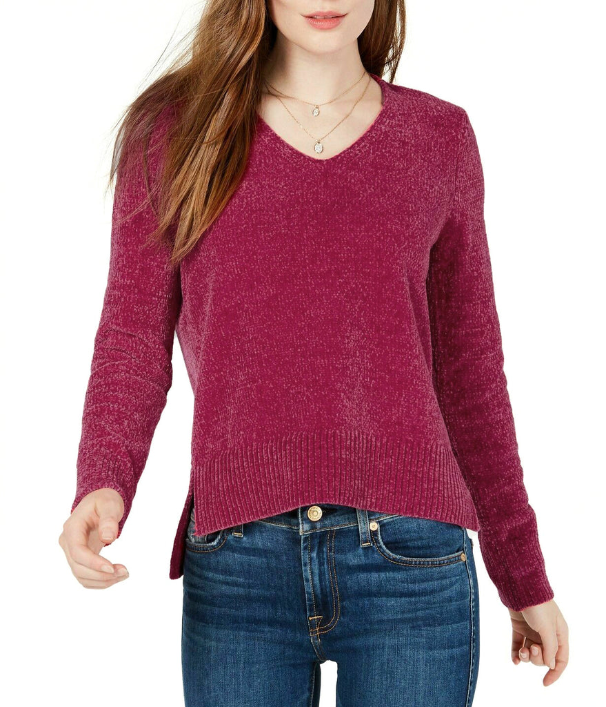 Yieldings Discount Clothing Store's V-Neck Chenille Sweater by Maison Jules in Fuchsia Crystal