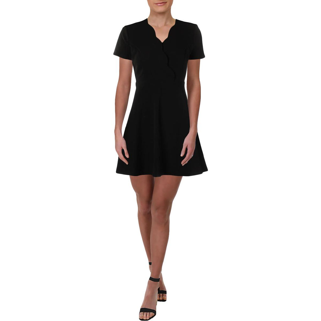 Yieldings Discount Clothing Store's Scalloped Surplice Scuba Dress by Aqua in Black