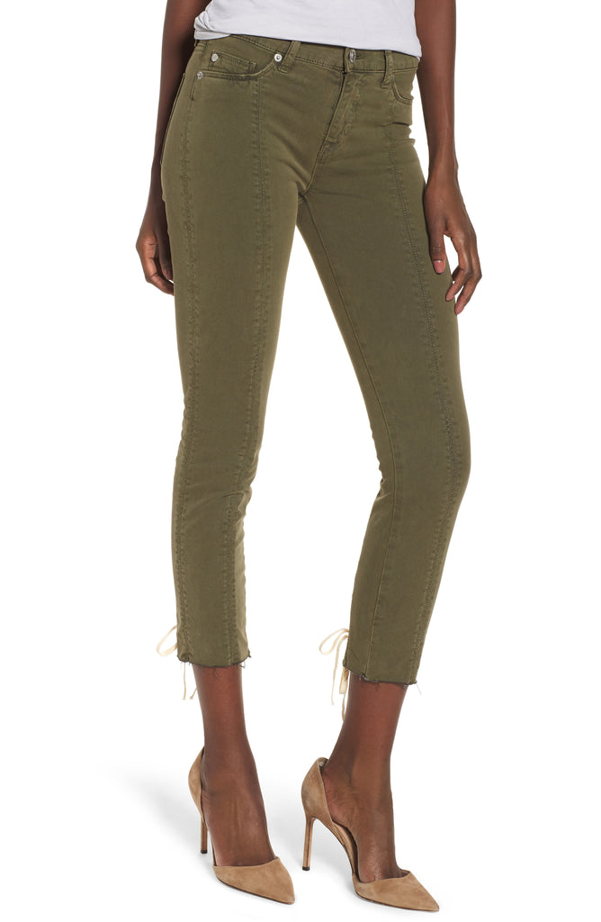 Yieldings Discount Clothing Store's Nico Mid-Rise Crop Lace-up Skinny Pants by Hudson in Crushed Olive