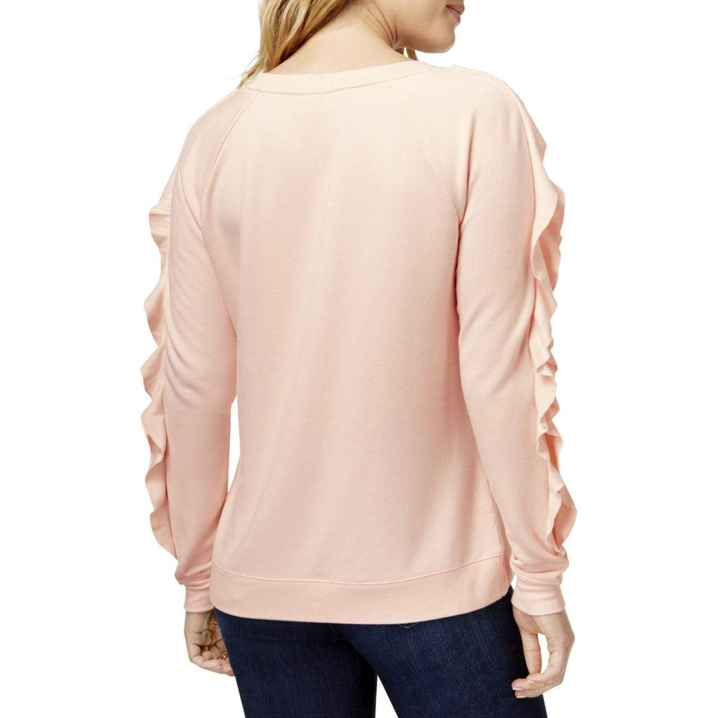 Yieldings Discount Clothing Store's Bon Weekend Ruffle Sleeve Sweater by Maison Jules in Pink Cloud