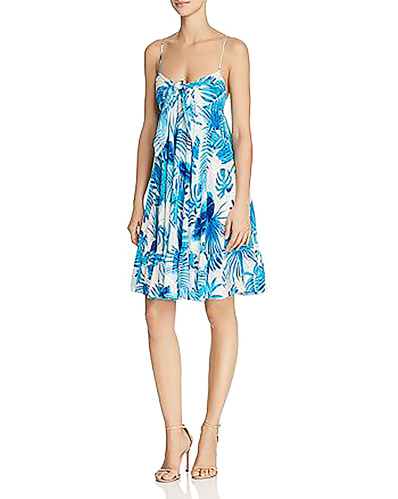 Yieldings Discount Clothing Store's Leaf-Print Silk Dress by Rococo Sand in Blue