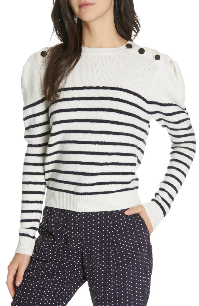 Yieldings Discount Clothing Store's Ruthine Stripe Sweater by Joie in Porcelain Midnight