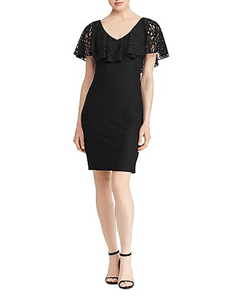 Yieldings Discount Clothing Store's Ruffle-Flounce Lace Dress by Lauren by Ralph Lauren in Black