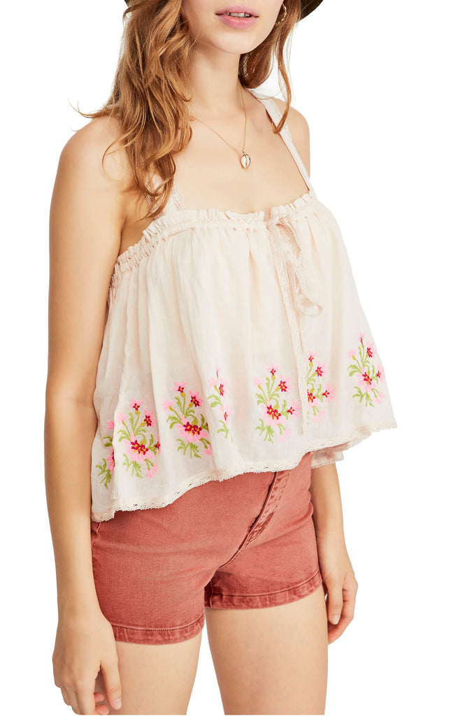 Yieldings Discount Clothing Store's Golden Hour Embroidered Camisole by Free People in Peach Combo