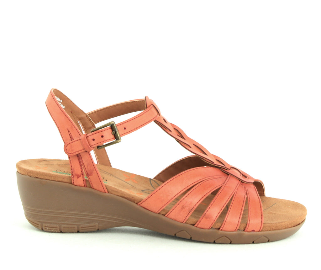 Yieldings Discount Shoes Store's Honora Wedge Sandals by Baretraps in Red Rose