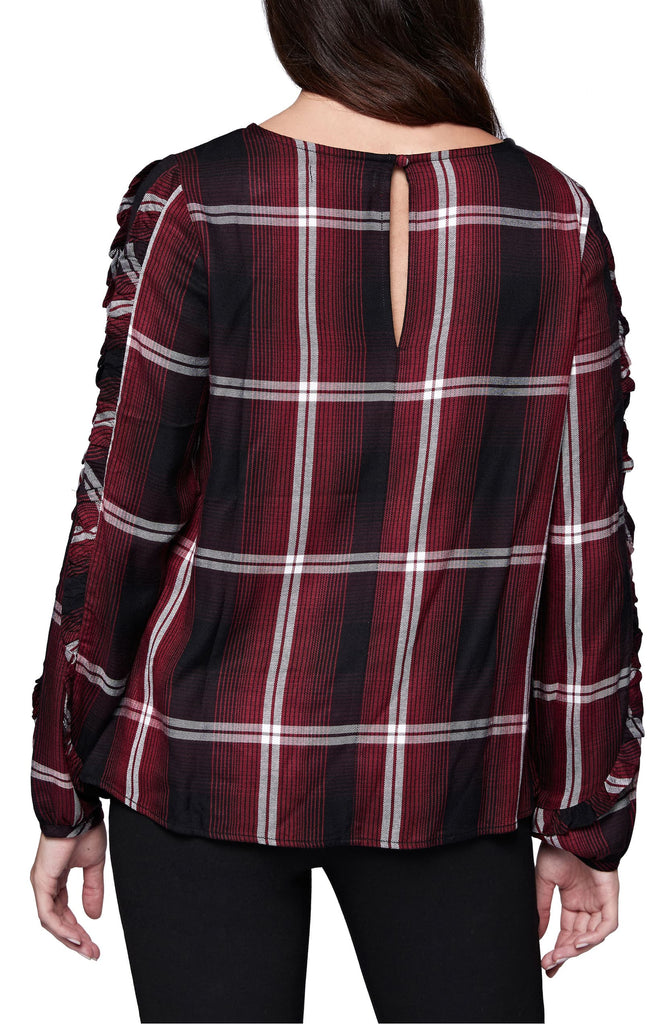 Yieldings Discount Clothing Store's Ruffled Sleeve Plaid Zinfandel Top by Sanctuary in Black/Red