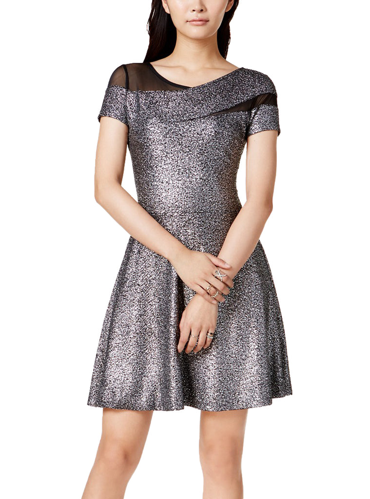 Yieldings Discount Clothing Store's Dublin Metallic Fit Flare Dress by Bar III in Silver