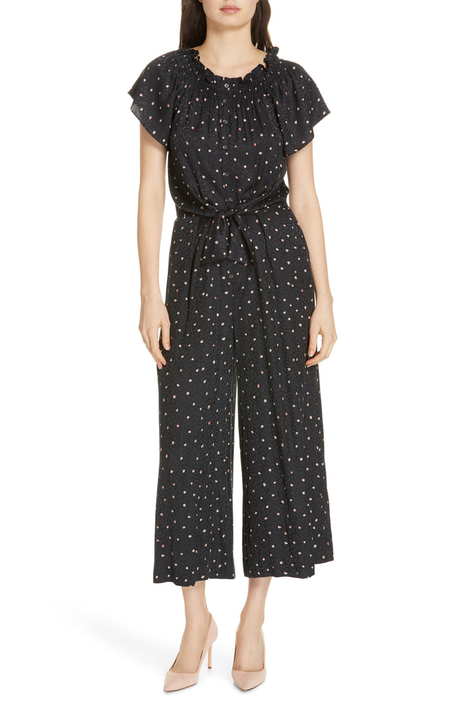 Yieldings Discount Clothing Store's Paint Dot Jumpsuit by Rebecca Taylor in Black Combo