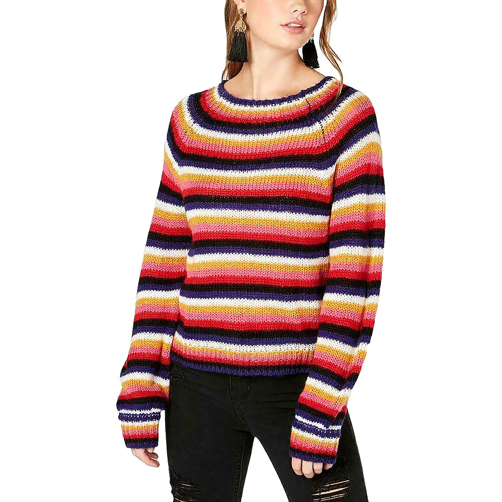 Yieldings Discount Clothing Store's Fluffy Striped Sweater by Crave Fame by Almost Famous in Pink Combo