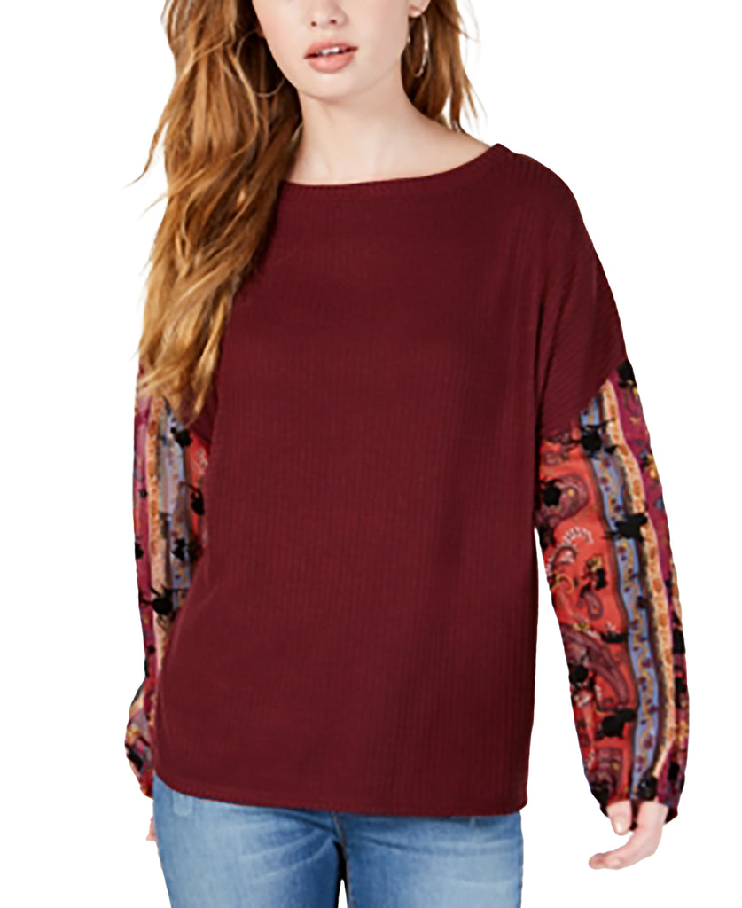 Yieldings Discount Clothing Store's Waffle-Knit Sheer-Sleeve Top by Gypsies & Moondust in Wine/Multi