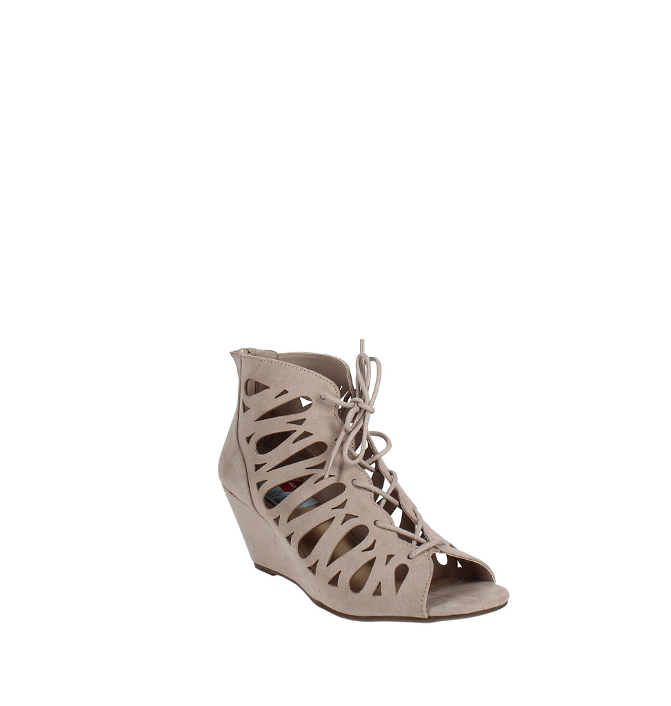 Yieldings Discount Shoes Store's Harlie Perforated Lace Up Wedge Sandals by Material Girl in Taupe