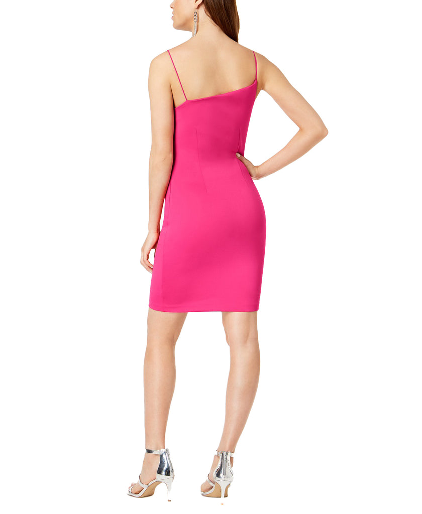 Yieldings Discount Clothing Store's Asymmetrical-Neck Bodycon Dress by Guess in Berry Tango