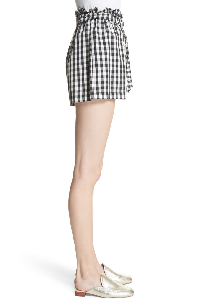 Yieldings Discount Clothing Store's High Waist Gingham Shorts by Joie in Caviar