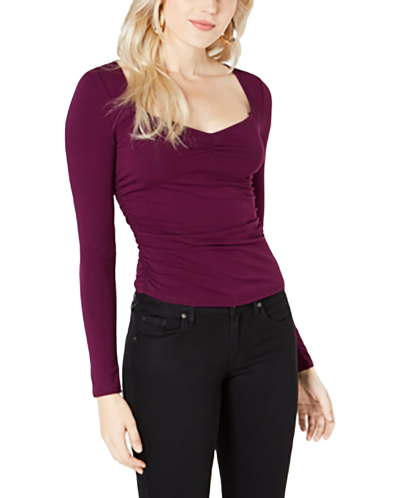 Yieldings Discount Clothing Store's Freedia Ruched Long-Sleeve Top by Guess in Aubergine Purple