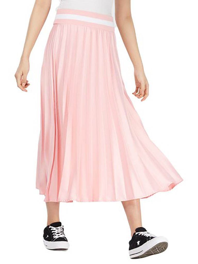 Yieldings Discount Clothing Store's Pleated Striped MIDI Skirt by Nicopanda in Pink