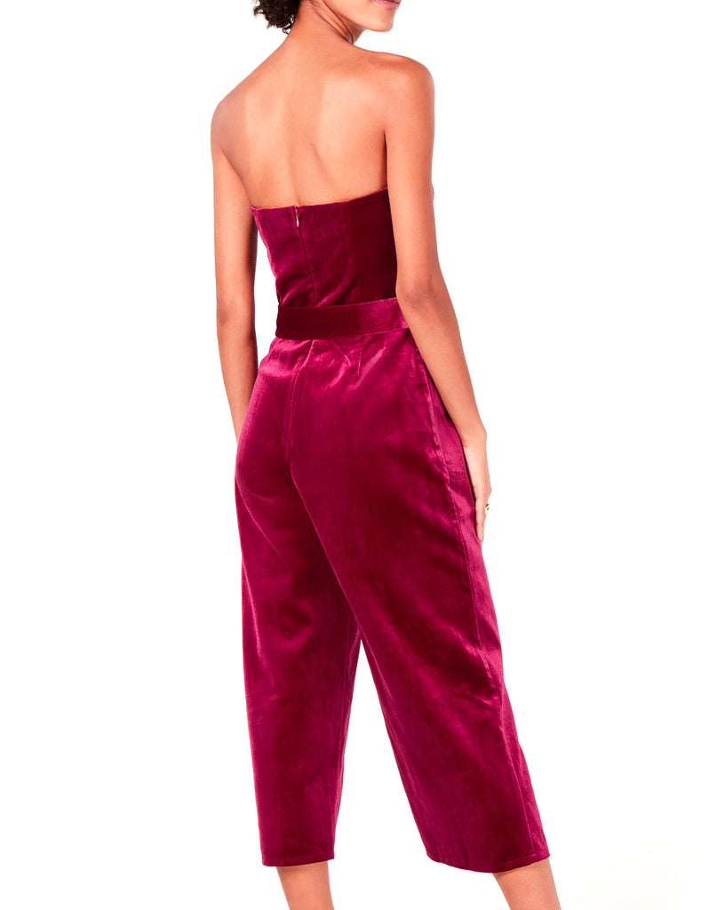 Yieldings Discount Clothing Store's Sasha Velvet Jumpsuit by Lucy Paris in Magenta