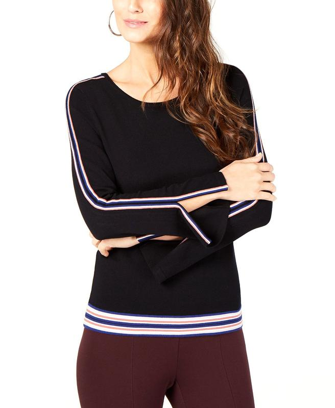 Yieldings Discount Clothing Store's Varsity Stripe Sweater by Alfani in Deep Black