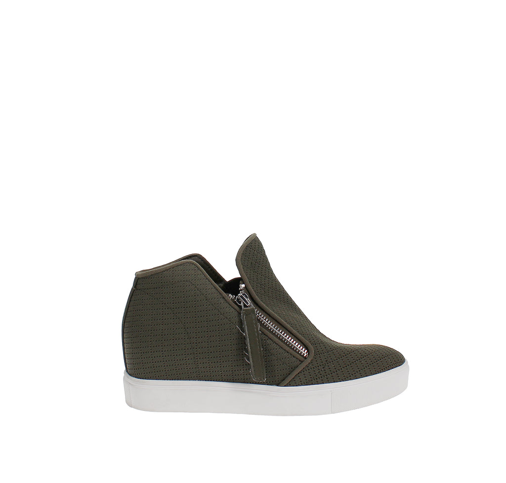 Yieldings Discount Shoes Store's Camden Knit Wedge Sneakers by Steve Madden in Olive