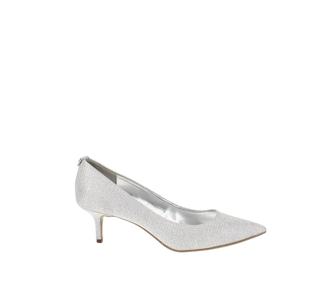 Yieldings Discount Shoes Store's MK-Flex Kitten Pumps by MICHAEL Michael Kors in Silver