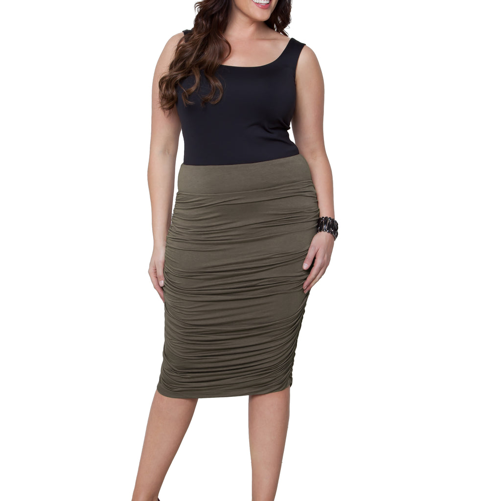 Yieldings Discount Clothing Store's Riley Ruched Skirt by Kiyonna in Taupe