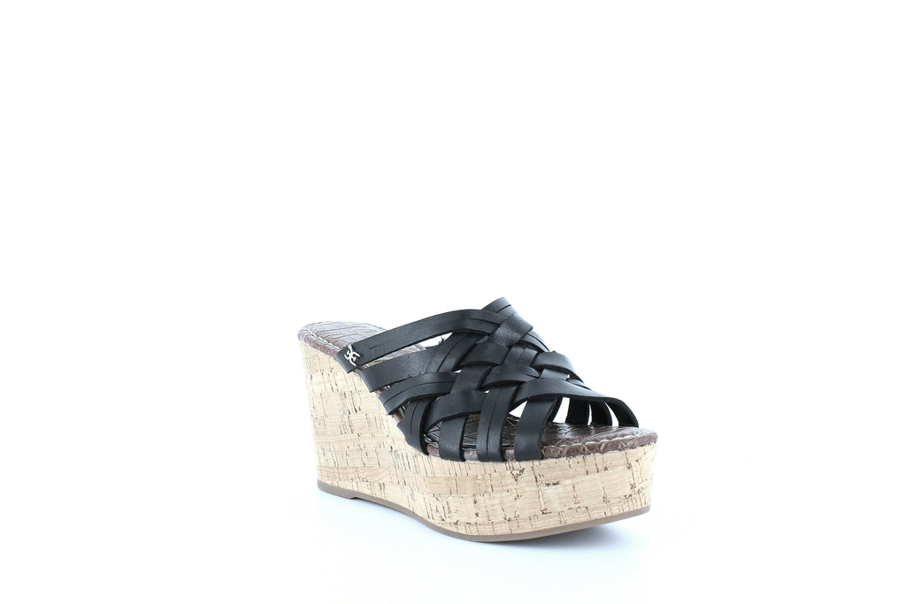 Yieldings Discount Shoes Store's Devon Wedge Platform Sandals by Sam Edelman in Black Leather