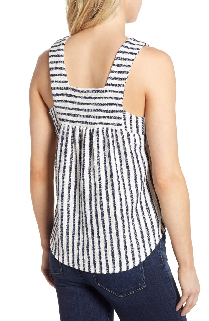 Yieldings Discount Clothing Store's Square Neck Tank Top by Lucky Brand in Navy Stripe