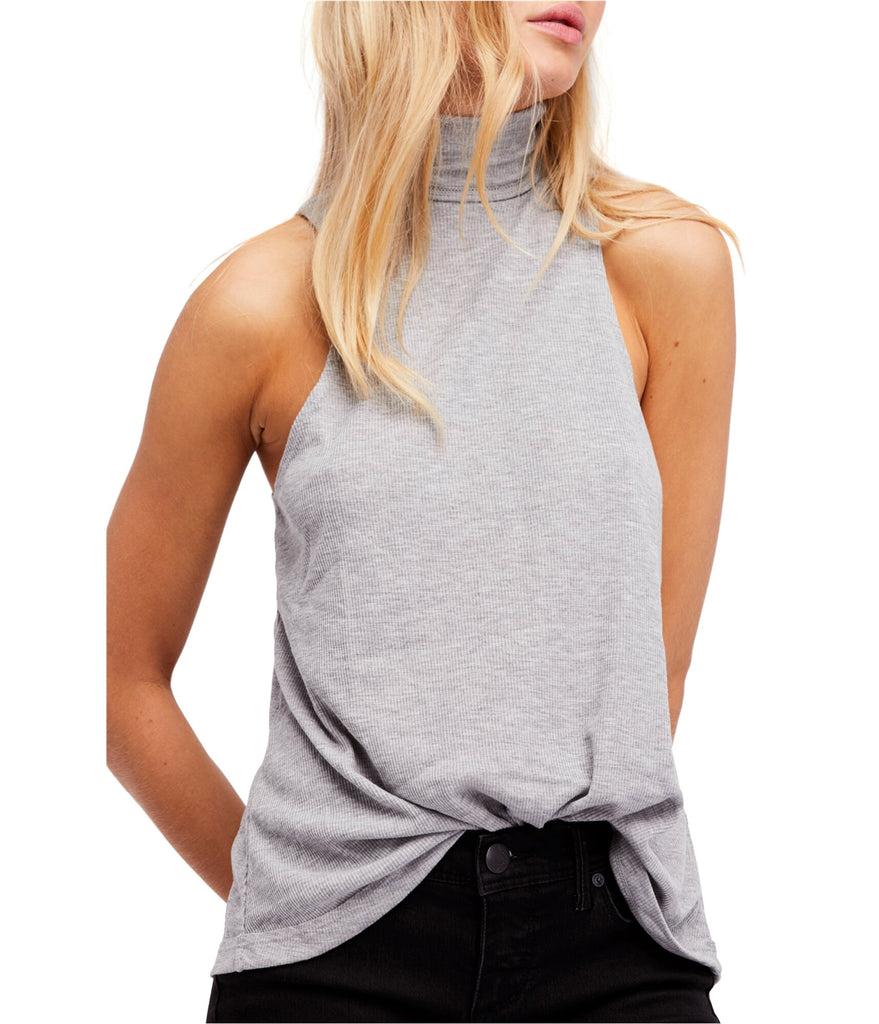 Yieldings Discount Clothing Store's Topanga Sleeveless Turtleneck by Free People in Heather Grey