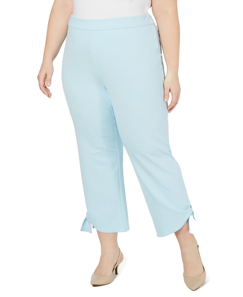 Yieldings Discount Clothing Store's Side-Tie Ankle Pants by Alfani in Oasis Blue