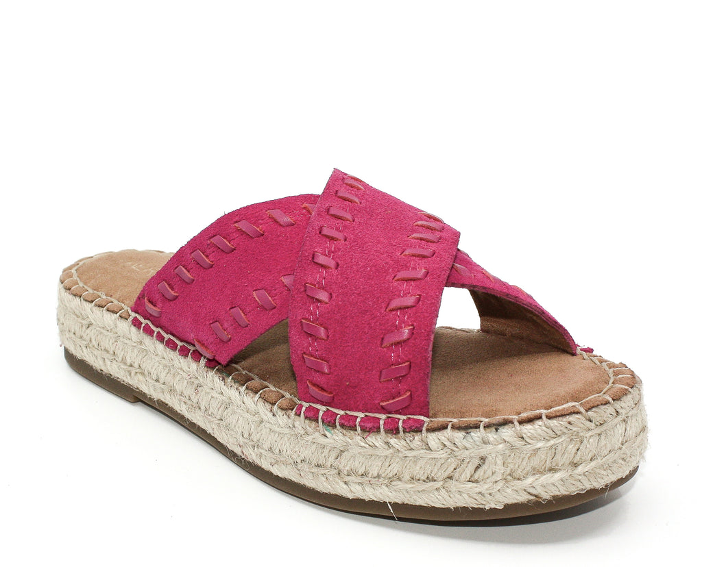 Yieldings Discount Shoes Store's Rose Gold Suede Espadrille Platform Sandals by Aerosoles in Pink