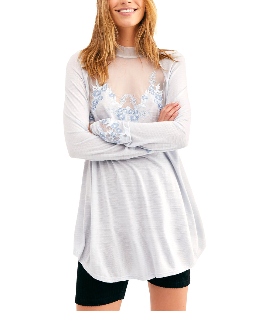 Yieldings Discount Clothing Store's Saheli Embroidered Mesh Top by Free People in Glacier Ice