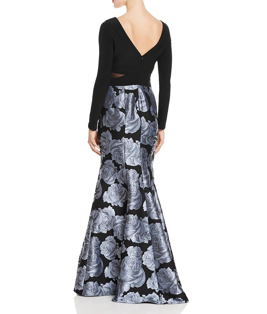 Yieldings Discount Clothing Store's Brocade Formal Evening Dress by Aqua in Black/Grey