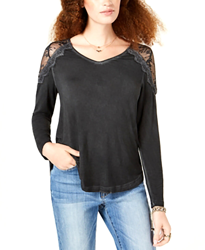 Yieldings Discount Clothing Store's Lace-Shoulder Strap-Back Top by American Rag Cie in Classic Black