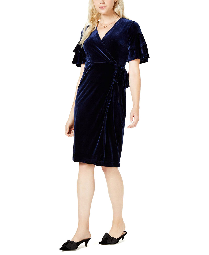 Yieldings Discount Clothing Store's Velvet Wrap Midi Dress Blue by Maison Jules in Blu Notte