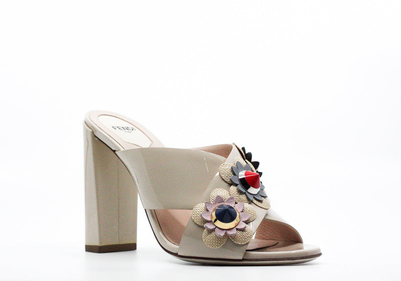 Yieldings Discount Shoes Store's Flowerland Studded Floral Mule Pumps by Fendi in Beige
