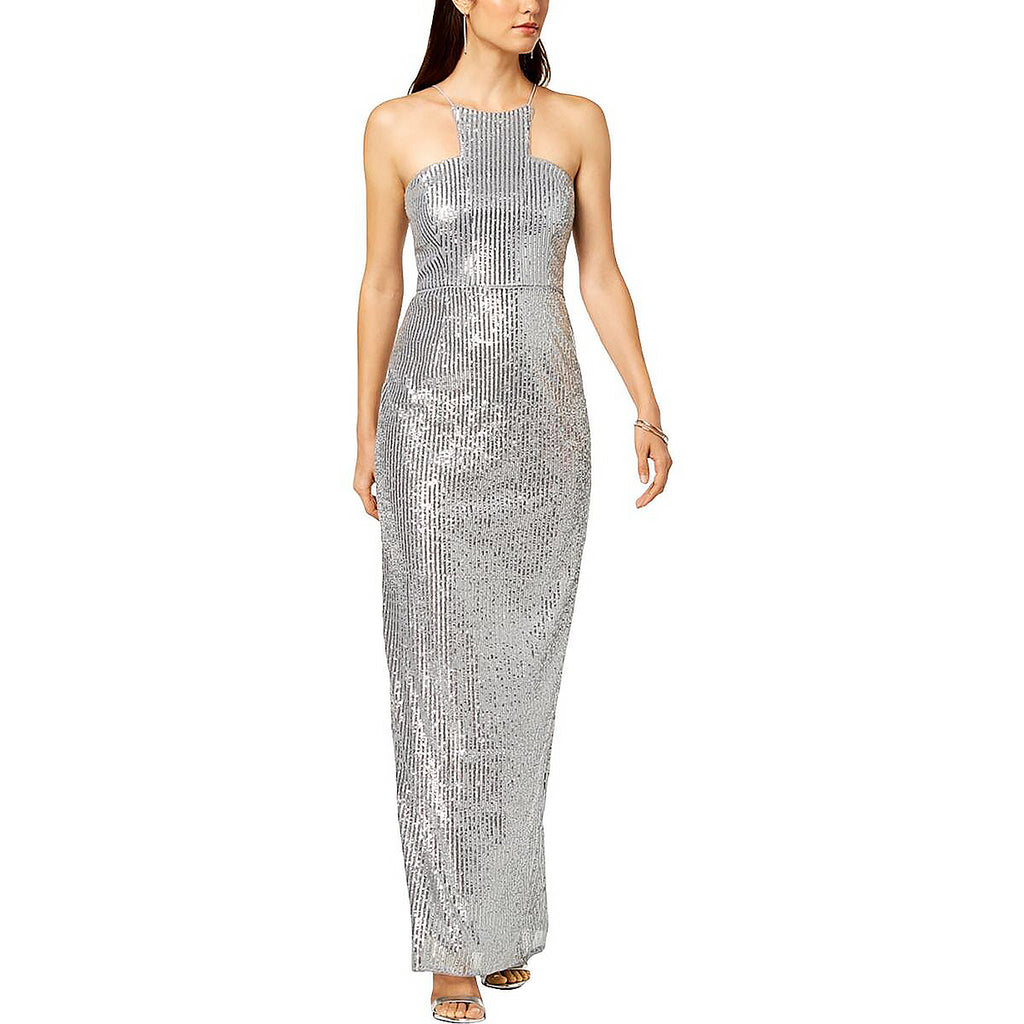 Yieldings Discount Clothing Store's Sequin Cutaway Gown by Adrianna Papell in Silver