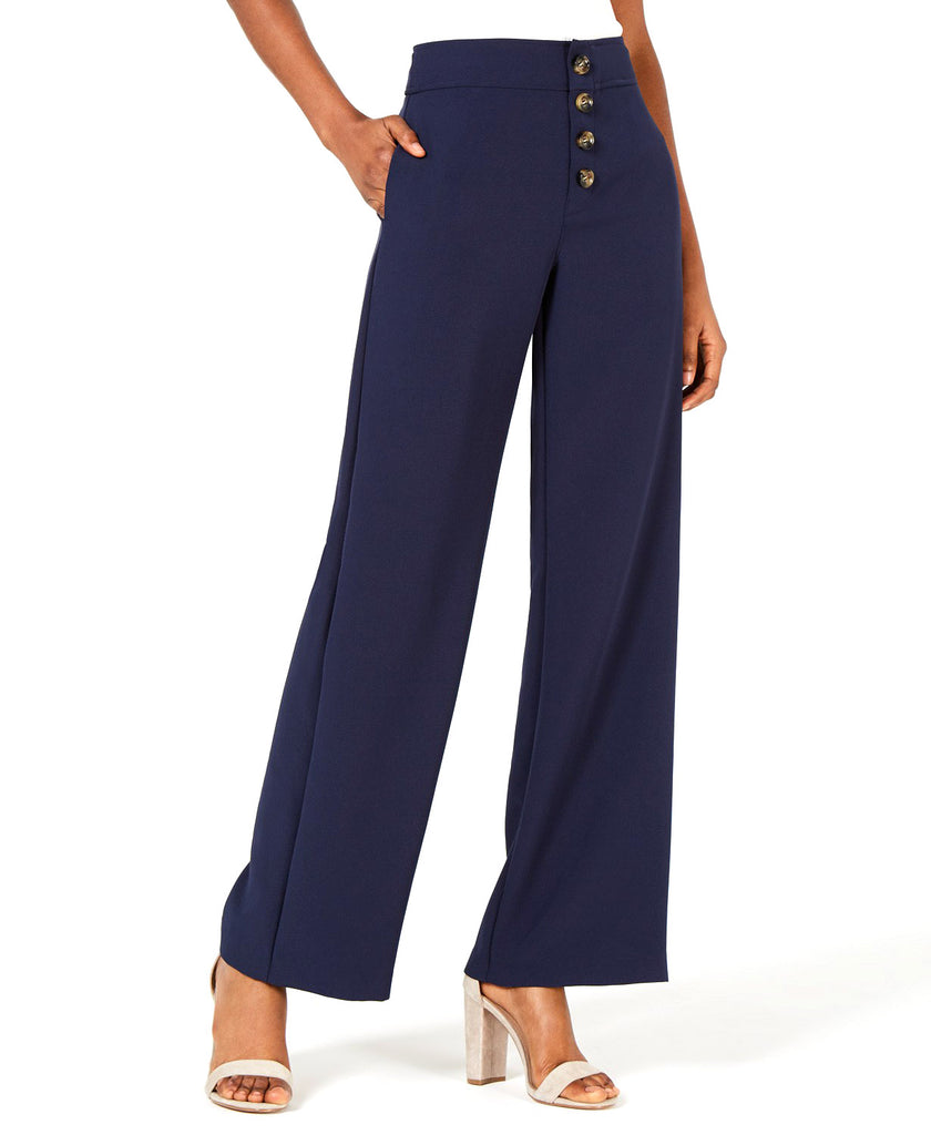 Yieldings Discount Clothing Store's Diane Button-Front Wide-Leg Pants by Lucy Paris in Navy