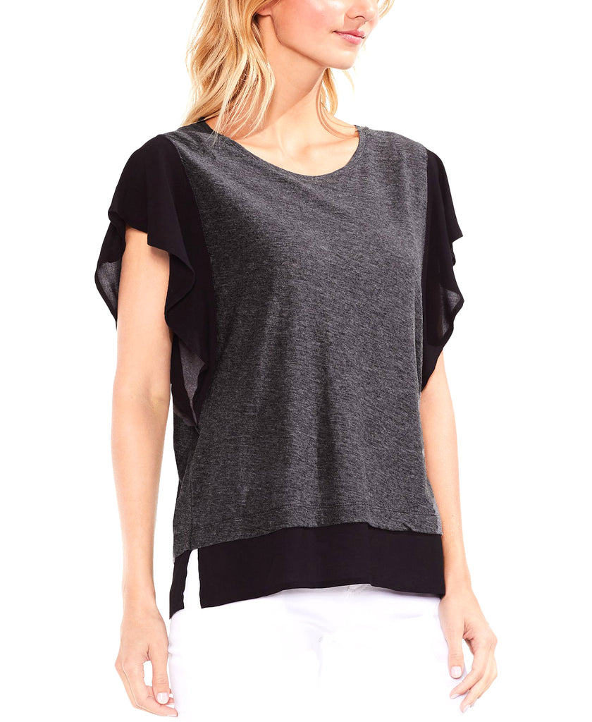 Vince Camuto | Mixed-Material Flutter-Sleeve Top
