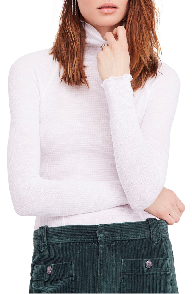 Yieldings Discount Clothing Store's Waffle-Knit Long Sleeve Turtleneck by Free People in White