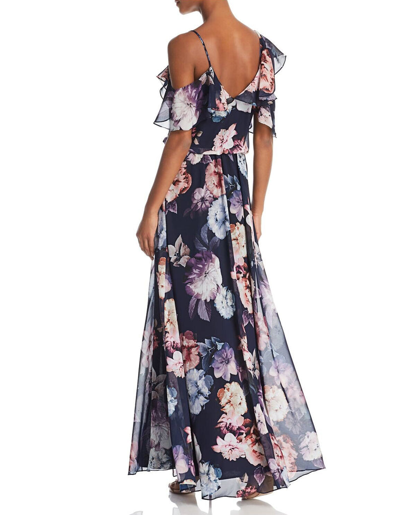 Yieldings Discount Clothing Store's Floral-Print Ruffle Gown by Aqua in Multi