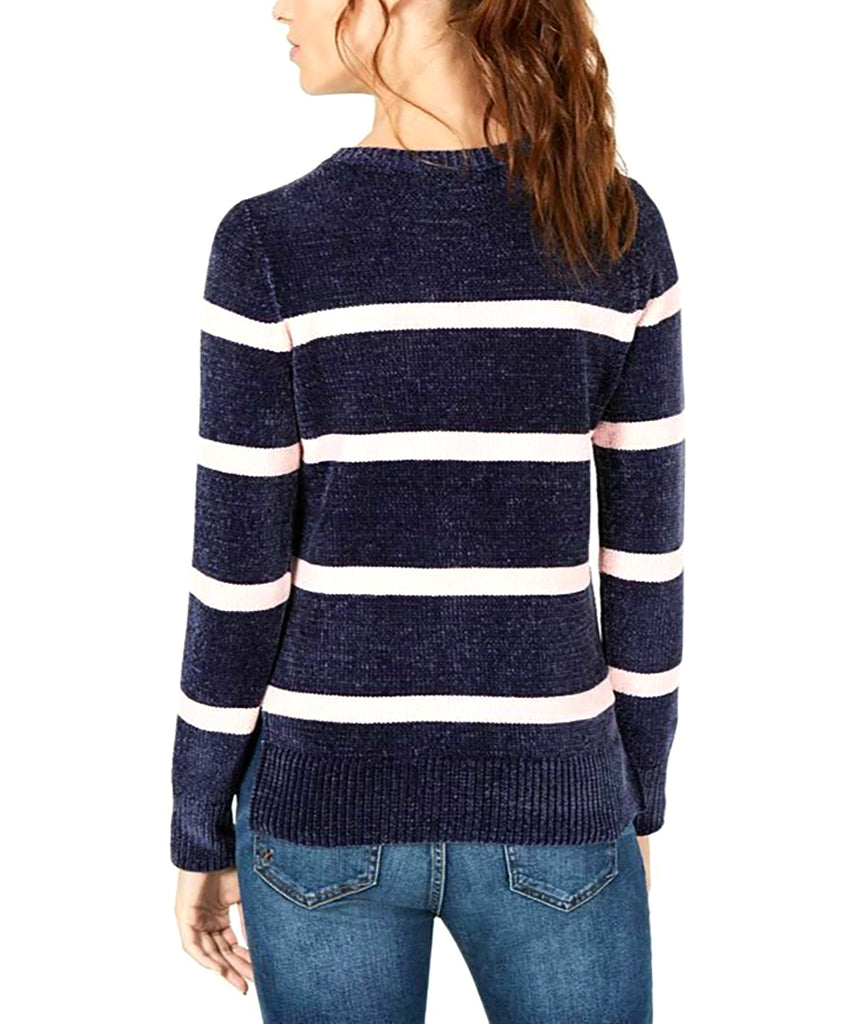 Yieldings Discount Clothing Store's V-Neck Chenille Sweater by Maison Jules in Blu Notte Combo