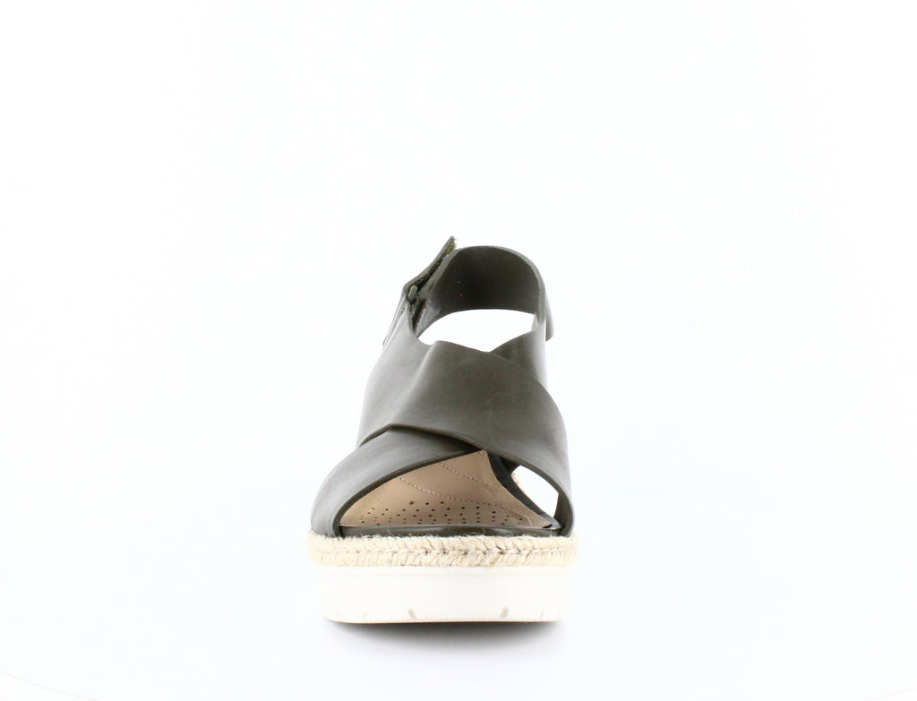 Yieldings Discount Shoes Store's Palm Glow Slingback Wedge Sandals by Clarks in Khaki Leather