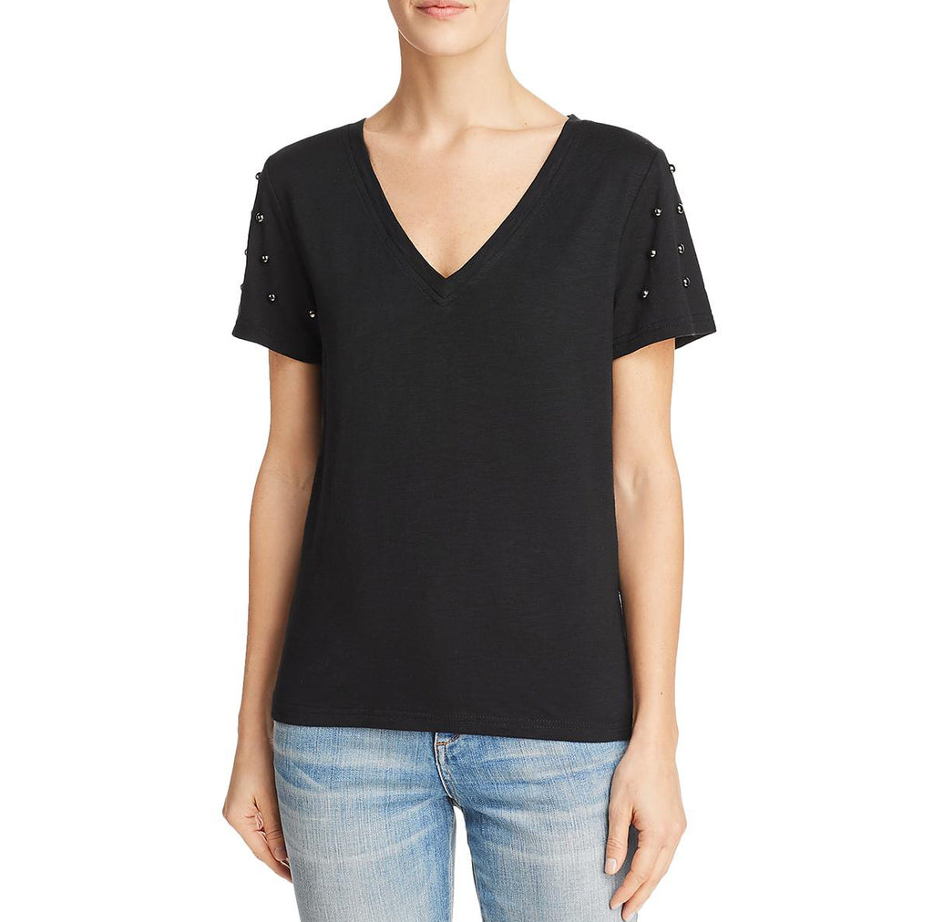 Yieldings Discount Clothing Store's Studded-Sleeve Tee by Honey Punch in Black