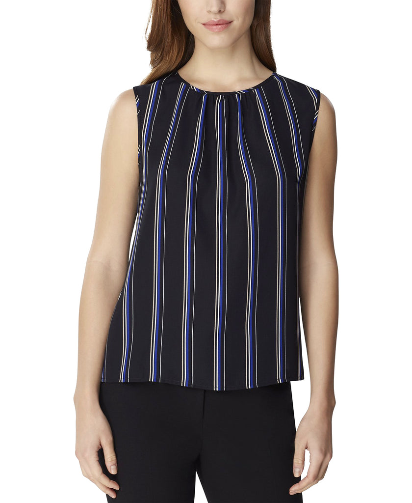 Yieldings Discount Clothing Store's Striped Crewneck Blouse by Tahari in Black/Cobalt Blue