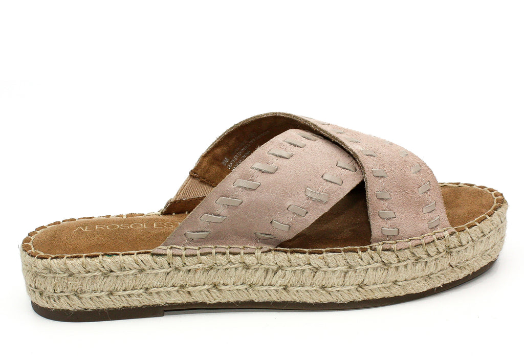 Yieldings Discount Shoes Store's Rose Gold Suede Espadrille Platform Sandals by Aerosoles in Bone