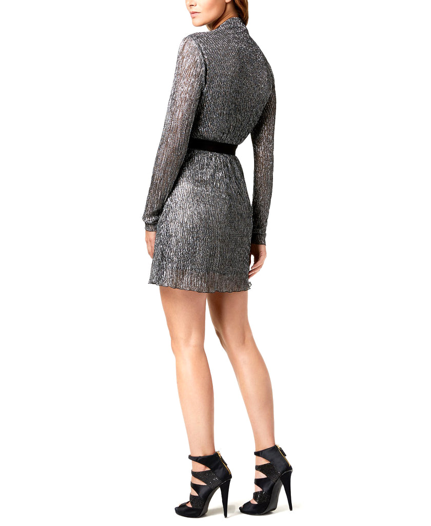 Yieldings Discount Clothing Store's Belted Faux Wrap Dress by Just Cavalli in Silver