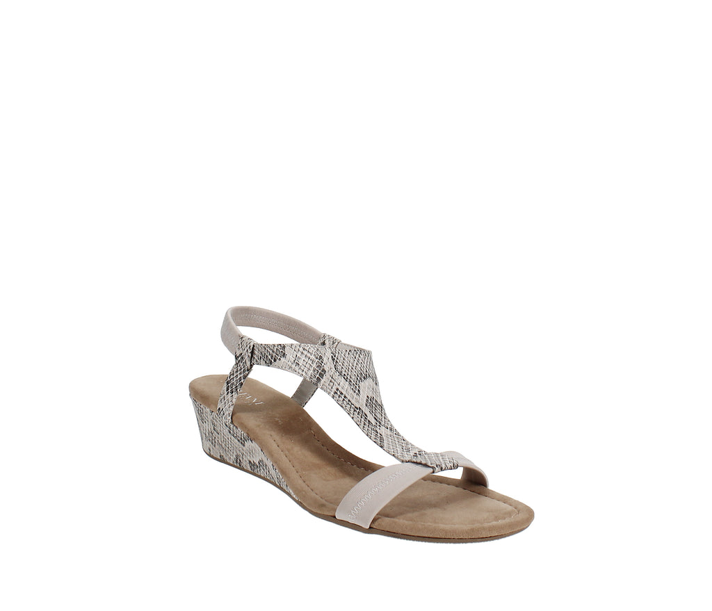 Yieldings Discount Shoes Store's Vacanza Wedge Sandals by Alfani in Taupe Snake