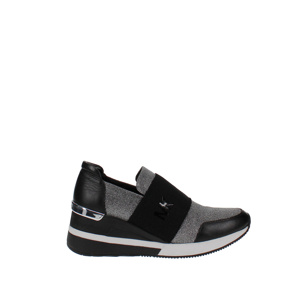 Yieldings Discount Shoes Store's Felix Bubble Trainer Sneakers by MICHAEL Michael Kors in Black/Silver