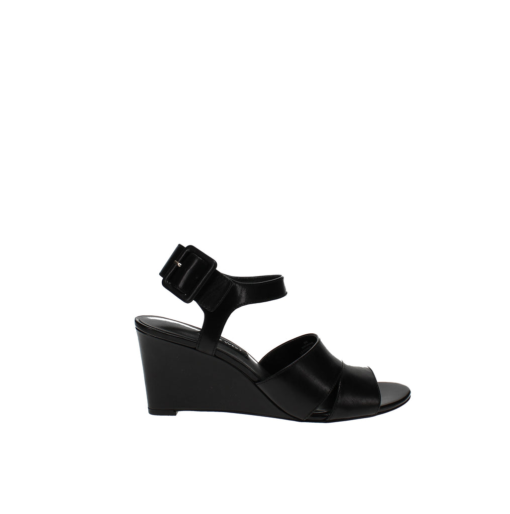 Yieldings Discount Shoes Store's Vahan Wedge Sandal by Nine West in Black